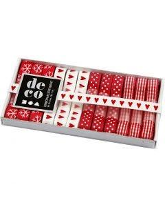 Dekorationsband, B: 10 mm, röd/vit harmoni, 12x1 m/ 1 förp.