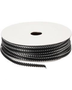Dekorationsband, B: 4 mm, svart/vit, 20 m/ 1 förp.