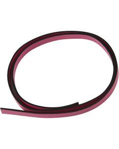 Imiterat läderband, B: 10 mm, tjocklek 3 mm, rosa, 1 m/ 1 förp.