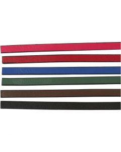 Imiterat läderband, B: 10 mm, tjocklek 3 mm, mixade färger, 6x1 m/ 1 förp.