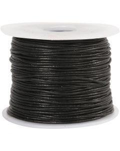 Lädersnöre, tjocklek 1 mm, svart, 50 m/ 1 rl.