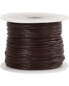 Lädersnöre, tjocklek 1 mm, brun, 50 m/ 1 rl.