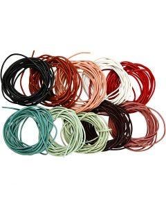 Lädersnöre, tjocklek 2 mm, mixade färger, 10x3 m/ 1 förp.