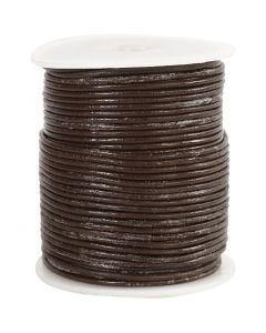 Lädersnöre, tjocklek 2 mm, brun, 50 m/ 1 rl.