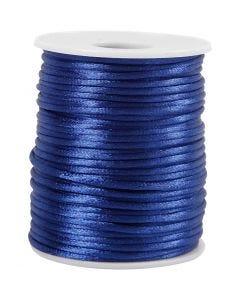Satinsnöre, tjocklek 2 mm, mörkblå, 50 m/ 1 rl.