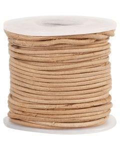 Lädersnöre, tjocklek 1 mm, natur, 10 m/ 1 rl.