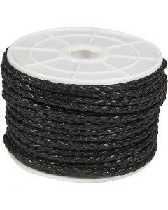 Flätsnöre, tjocklek 2,5 mm, svart, 25 m/ 1 rl.