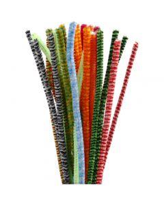 Piprensare, randiga, L: 30 cm, tjocklek 6 mm, mixade färger, 30 mix./ 1 förp.