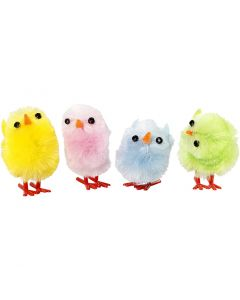 Påskkycklingar, H: 30 mm, pastellfärger, 12 st./ 1 förp.