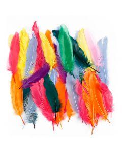 Fjädrar, L: 12-15 cm, mixade färger, 350 st./ 1 förp.