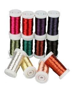 Mjuk smyckestråd, tjocklek 0,5 mm, mixade färger, 12x50 m/ 1 förp.