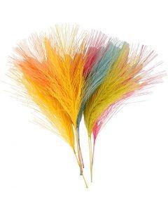 Konstgjorda fjädrar, L: 15 cm, B: 8 cm, mixade färger, 10 st./ 1 förp.