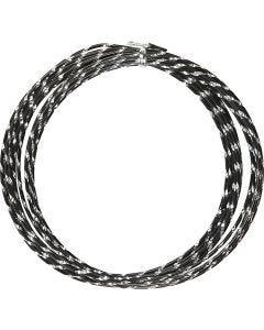 Aluminiumtråd, Diamond-cut, tjocklek 2 mm, svart, 7 m/ 1 rl.