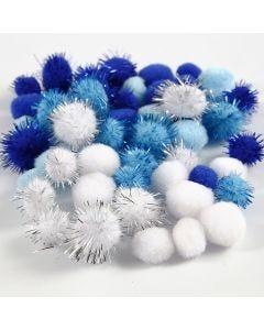 Pompomer, Dia. 15+20 mm, ljusblå, mörkblå, vit, 48 mix./ 1 förp.