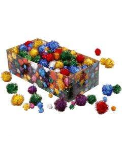 Pompomer, Dia. 15-40 mm, glitter, starka färger, 400 g/ 1 förp.