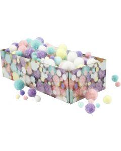 Pompoms, Dia. 15-40 mm, glitter, pastellfärger, 400 g/ 1 förp.