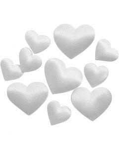 Satinhjärtan, stl. 10+20 mm, vit, 70 st./ 1 förp.