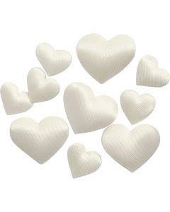 Satinhjärtan, stl. 10+20 mm, råvit, 700 st./ 1 förp.