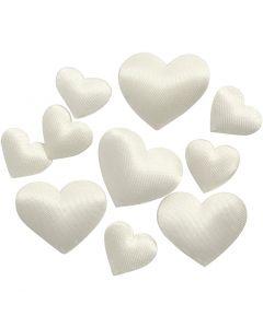 Satinhjärtan, stl. 10+20 mm, råvit, 70 st./ 1 förp.