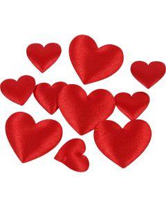 Satinhjärtan, stl. 10+20 mm, röd, 70 st./ 1 förp.