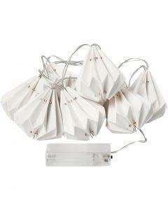 LED ljusslinga med lampskärmar, H: 80 mm, L: 100 cm, Dia. 65 mm, vit, 1 st.