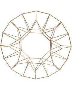 Metallornament, ring/krans, Dia. 28 cm, mässing, 1 st.