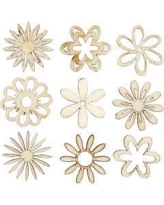 Trädekorationer, Blommor, stl. 28 mm, 45 st./ 1 förp.