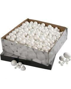 Kulor och ägg, stl. 1,5-6,1 cm, vit, 550 st./ 1 förp.