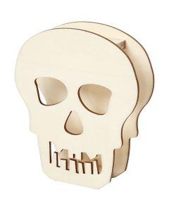 Halloweenfigur, Döskalle, H: 13,5 cm, djup 3 cm, B: 11,5 cm, 1 st.