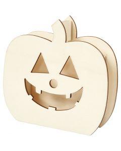 Halloweenfigur, Pumpahuvud, H: 13 cm, djup 3 cm, B: 13,5 cm, 1 st.