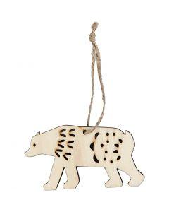 Ornament, isbjörn, H: 4,5 cm, djup 0,5 cm, B: 7,5 cm, 4 st./ 1 förp.