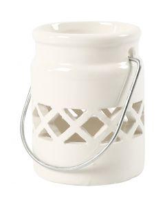 Lanternor, H: 8 cm, Dia. 6,2 cm, 2. sort, vit, 2 st./ 1 förp.