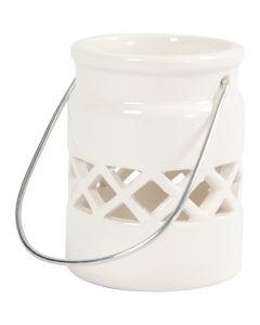Lanternor, H: 8 cm, Dia. 6,2 cm, vit, 2 st./ 1 förp.