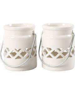 Lanternor, H: 8 cm, Dia. 6,2 cm, 2. sort, vit, 6 st./ 1 låda