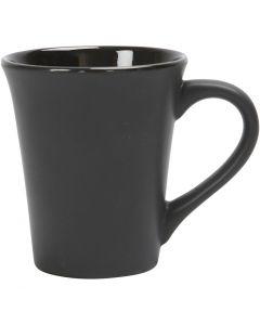 Muggar, H: 10 cm, Dia. 5,9-8,7 cm, svart, 1 st.