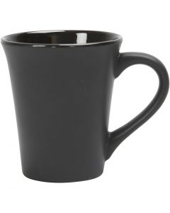 Muggar, H: 10 cm, Dia. 5,9-8,7 cm, 300 ml, svart, 12 st./ 1 låda