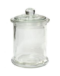 Glasburk med lock, H: 14,5 cm, Dia. 8 cm, 10 st./ 1 låda