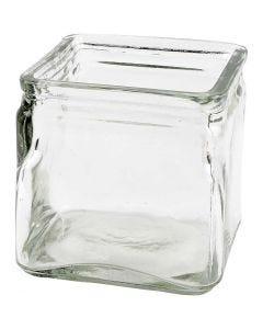 Fyrkantiga värmeljushållare, H: 10 cm, stl. 10x10 cm, 12 st./ 1 låda