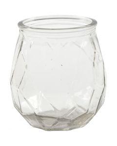 Ljusglas, H: 10,5 cm, Dia. 9,5 cm, Hålstl. 7,3 cm, 6 st./ 1 låda