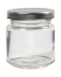 Syltburkar, H: 6,5 cm, Dia. 5,7 cm, 100 ml, transparent, 12 st./ 1 låda