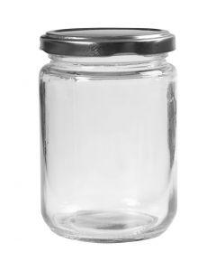 Syltburkar, H: 11 cm, Dia. 7,5 cm, 370 ml, transparent, 6 st./ 1 låda