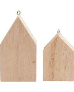 Hus med o-ring, H: 4,5+6,5 cm, 30 st./ 1 förp.
