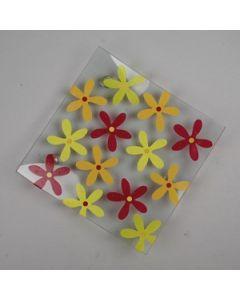 Glasfat med blommor
