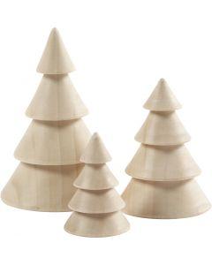 Julgranar, H: 5+7,5+10 cm, Dia. 3,5+5,4+6,7 cm, 3 st./ 1 förp.