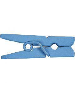 Mini klädnypor, L: 25 mm, B: 3 mm, blå, 36 st./ 1 förp.