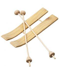 Skidor och stavar , stl. 11x3,8 cm, 3 par/ 1 förp.