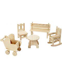 Minimöbler, stol, bänk, gungstol, bord, barnvagn, H: 5,8-10,5 cm, 50 st./ 1 förp.
