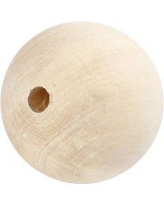 Träpärlor, Dia. 80 mm, Hålstl. 12 mm, 1 st.