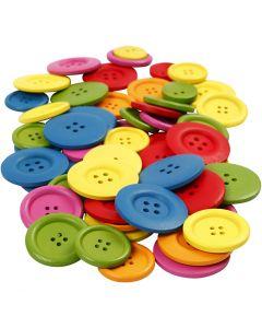 Träknappar, Dia. 25-40 mm, 2-4 hål, mixade färger, 144 st./ 1 förp.