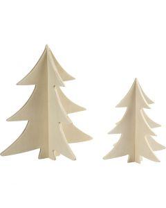 3D julgranar, H: 13+18 cm, 2 st./ 1 förp.
